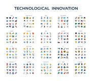 Digital vector technology icons set. Digital vector technological innovation icons set, flat style infographics vector illustration
