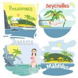 Digital vector touristic vacation destination set Royalty Free Stock Photography