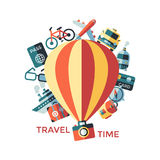 Digital vector yellow travel icons. Digital vector travel icons set with drawn simple line art info graphic poster promo, ship boat camera balloon luggage Stock Image