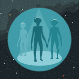 Digital vector with ufo aliens coming Stock Photo