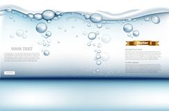 Free Digital Vector Under Water Background With Bubbles, Water Drops And Light Waves. Ready For Product Placement And Info Stock Images - 121130424
