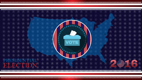 Digital vector usa election with 2016 vote box. Flat style stock illustration