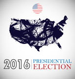 Digital vector usa presidential election 2016. With country flag and map, flat style Royalty Free Stock Images