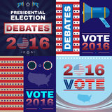Digital vector usa presidential election. With debates 2016, flat style Royalty Free Stock Photos