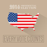 Digital vector usa presidential election 2016. With every vote counts and flag, flat style Stock Image