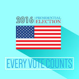 Digital vector usa presidential election 2016. With every vote counts and flag, flat style Royalty Free Stock Image