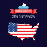Digital vector usa presidential election 2016. With freedom, liberty and flag, flat style Stock Photos