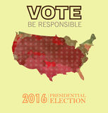Digital vector usa presidential election 2016. With vote be responsible, flat style Stock Image