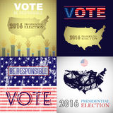 Digital vector usa presidential election. With vote be responsible, flat style Royalty Free Stock Photos
