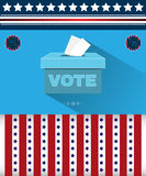 Digital vector usa presidential election 2016. With vote box and democrat vs republican, flat style royalty free illustration