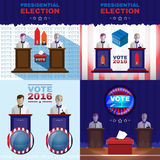 Digital vector usa presidential election. With vote box, flat style Royalty Free Stock Image