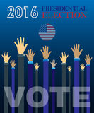 Digital vector usa presidential election 2016. Vote with hands in the air, flat style Stock Photography