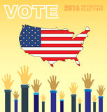 Digital vector usa presidential election 2016. With vote and hands in the air, flat style Royalty Free Stock Photos