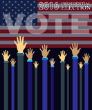 Digital vector usa presidential election 2016. With vote and hands in the air, flat style Stock Image