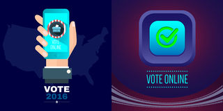 Digital vector usa presidential election with vote online. Hand and mobile phone, flat style Stock Image