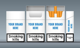 Digital vector white cigarette pack mockup. Front and lateral view, smoking kills, realistic flat style,  and ready for your design and logo Stock Image