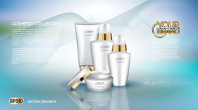 Digital vector white matte surface skin care cream. Cosmetic container mockup collection, your brand, ready for print ads or magazine design. Golden stripe Royalty Free Stock Images