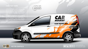 Digital vector white realistic vehicle car mockup, ready for your logo and design . Template for advertising and Stock Photos
