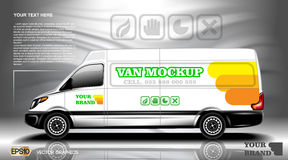 Digital vector white realistic vehicle car mockup, ready for your logo and design . Template for advertising and Royalty Free Stock Images