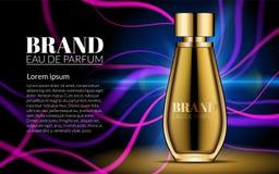 Digital-Vektor-Glasparfüm für Frauen-Behälter-Modell mit Ihrer Marke bereit zum Druck-Anzeigen-oder Zeitschriften-Design purpurro Stockfoto