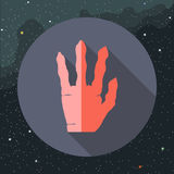 Digital vektor med den röda främmande handen Arkivbild