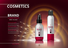Digital-Vektor-realistische Kosmetikflaschen Schönheitsprodukte für Haarbehandlung oder -Körperpflege Logoaufkleber-Designpaket vektor abbildung