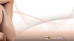 Digital vektorbakgrund med kvinnakroppen Hudomsorg eller annonsmall realistisk konturillustration för kvinna 3D Nakenstudie för p stock illustrationer