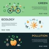 Digital-Vektorgrün-Ökologieikonen Lizenzfreie Stockfotos
