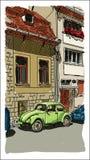 Digital-Vektorskizzen-Stadtansicht mit roten Häusern lizenzfreie abbildung