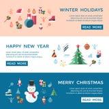 Digital-Vektorweihnachts- und des neuen Jahresfeiertage eingestellt Lizenzfreie Stockfotografie