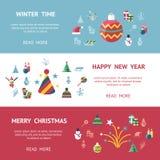 Digital-Vektorweihnachts- und des neuen Jahresfeiertage eingestellt Lizenzfreies Stockfoto