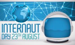 Digital-Verbindungen, Kugel ein Astronaut Helmet für Internaut-Tag, Vektor-Illustration Stockfotografie