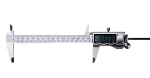 Digital Vernier Caliper - Isolated on White. Fully opened Digital Vernier Caliper isolated on white - Words or other objects can be inserted to illustrate royalty free stock photography