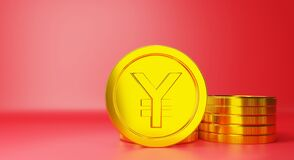 Digital Version Of The Chinese Yuan Gold Coins Currency Sign Royalty Free Stock Images