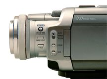 Digital video camcorder. Side view of a digital camcorder stock image