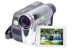 Digital video camera. With a folding screen Stock Photos