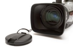 Digital Video Camera  (Detail Front View). Detail of a semi-professional 3CCD digital video camera isolated on white Stock Images