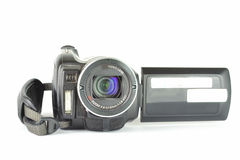 Digital Video Camera from front with open screen. With white background Royalty Free Stock Photos