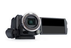 Digital video camera isolated on white background. Screen has a clipping path royalty free stock photo