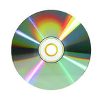 Digital video disc in colors. Rainbow-colored or iris-like data disc dvd in bright light isolated on white background Stock Images