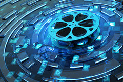 Digital video and multimedia concept. Film reel on blue technology background with computer code and abstract circles Stock Photos