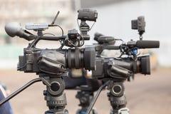 Digital videokameror som täcker en händelse Arkivbilder