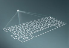 Digital virtual keyboard on blue background Stock Image
