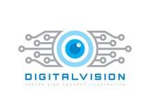Digital vision - illustration för begrepp för vektorlogomall Abstrakt idérikt tecken för mänskligt öga Säkerhetsteknologi och bev royaltyfri illustrationer