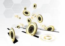 Digital-Währung, die zukünftiges Konzept-BAC der goldenen Münzeneinsparung finanziert Stockfotografie