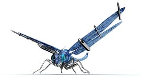 Digital war concept electronic computer dragonfly isolated. 3D illustration stock illustration