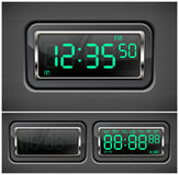 Digital watch. Black with green dial, vector illustration Royalty Free Stock Photography