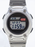 Digital Watch face close up with red alarm. On white stock photo