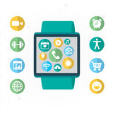 Digital watch with the simmilar smartphone's functions, mobile icon set. Vector modern illustration and design element Royalty Free Stock Image