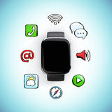 Digital watch with social media icons Stock Photography
